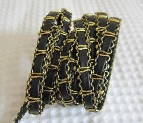 2 Yards Chain Like Faux Leather Trims In Gold Thread 1/4 inch