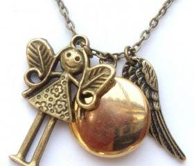 Antiqued Brass Girl Disc Locket Wing Necklace