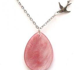 Silver Brass Bird Chery Quartz Necklace