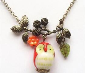 Antiqued Brass Branch Flower Porcelain Owl Necklace