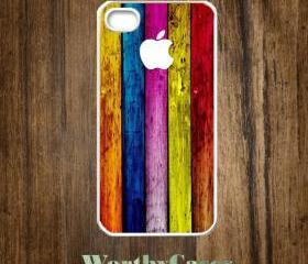 iPhone 4 case, iPhone 4s case, case for iPhone 4 mobile case handmade : Colorful wooden on apple iPhone 4 Case