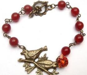 Antiqued Brass Bird Red Agate Bracelet