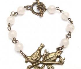 Antiqued Brass Bird White Jade Bracelet