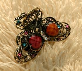 Colourful Stones and Rhinestone Filigree Claw Clip