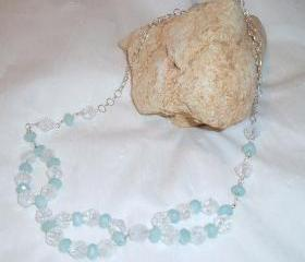 Quartz and Amazonite Sterling Silver Necklace Handmade