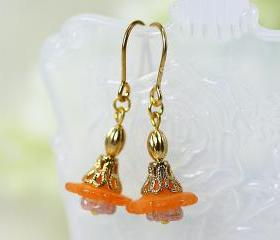 Petite Orange Lucite Flower Earrings