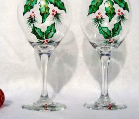Christmas Painted Wine Glasses With Holly