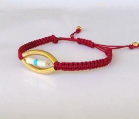 Red - Gold Macrame Friendship Bracelet
