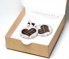 Plaid Hearts dangle Earrings Christmas Jewelry red green- decoupage earrings - double faced - size 3cm 