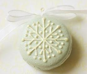 Snowflake Faux Macaron Christmas Tree Ornament