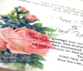 Handmade Wedding Invitation Suite - Recycled Kraft Pocketfold - Boho Style - Sample Pack - Free Shipping