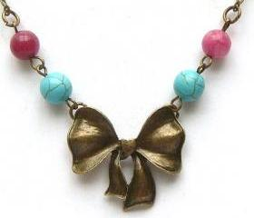 Antiqued Brass Bowtie Jade Turquoise Necklace