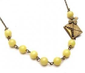 Antiqued Brass Mail Lemon Jade Necklace