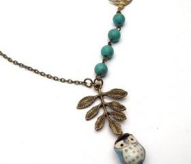 Antiqued Brass Leaf Bird Turquoise Porcelain Owl Necklace