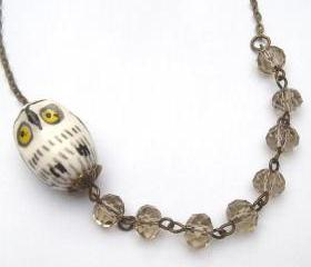 Antiqued Brass Smoky Quartz Porcelain Owl Necklace