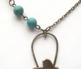 Antiqued Brass Bird Turquoise Necklace