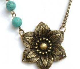 Antiqued Brass Flower Green Turquoise Necklace