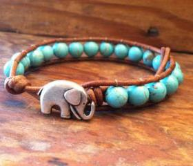 Elephant Leather Wrap Bracelet, Blue Magnesite Wrap Bracelet, Lucky Elephant Bracelet