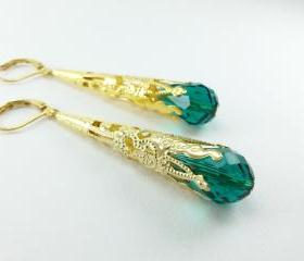 Gold Emerald Earrings Leverback Dangle Earrings Victorian Jewelry Filigree Earrings Long Dangle
