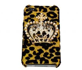 Bling leopard iphone 4 Case, Crown iphone 4 Case, Crown iphone 4G Case, Crystal iphone 4S Case, Leopard Gold iphone 4 Case