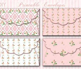Digital Envelopes - Pink Flowers - Printables - Collage Sheet - Download Images - DIY - Invitations - Partis - Baby Sowers - 1553