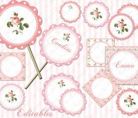 Cupcakes Toppers - Pink Flowers - Digital Tags - Printables - Parties - Weddings - Candy Buffet Labels - 1551