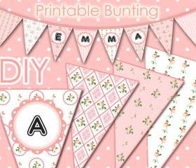 Digital Bunting - Vintage Pink Flowers - DIY - Printable - Parties - Weddings - Baby Showers - 1552