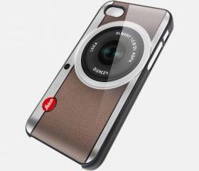 leica camera silver brown cover for iPhone 4 / 4s
