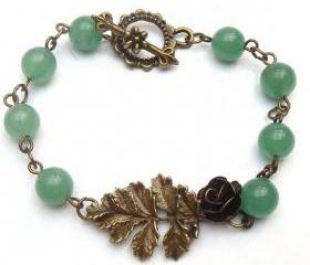Antiqued Brass Leaf Flower Jade Bracelet