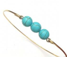 Brass Green Turquoise Bracelet
