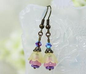 Petite Yellow Lucite Flower Earrings