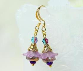 Petite Purple Lucite Flower Earrings