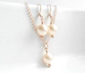 Bridal Pearls Rose Gold Swarovski Pearl cream rose Necklace and Earrings set