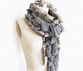 Upcycled Scarf in Greys