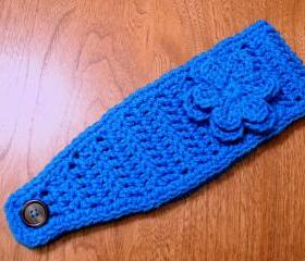 Blue Crochet Headband - Earwarmer - Headwrap with Flower - Choose a Color