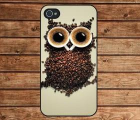 iphone 4 case,iphone 4s case,iphone 4 cover--Coffee Owl,in plastic or silicone case