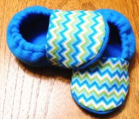 Blue Chevron Baby Booties- In Blue or Lime Green Fleece
