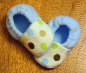 Frog Dots and Light Blue Fleece Baby Booties - Dots, Blue, Brown, Green, Cream