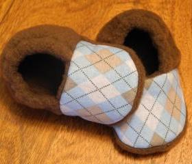 Toddler Size - Blue and Brown Argyle Fleece Baby Booties with Non-Slip Soles
