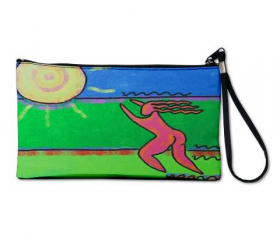 Clutch Purse Wristlet Printed with My Funky Abstract Digital Painting