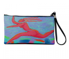 Clutch Purse Wristlet Handbag Printed with My Funky Abstract Digital Painting 