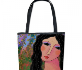 Handbag Shoulder Bag Purse Printed with My Abstract Digital Portrait of a Woman