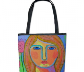 Handbag Shoulder Bag Purse Printed with My Lovely Abstract Digital Painting of a Woman