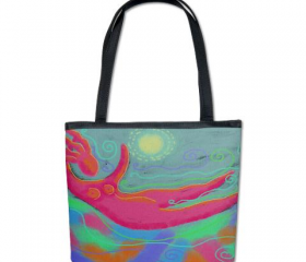 Handbag Shoulder Bag Purse Printed with My Funky Abstract Digital Painting