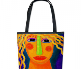 Handbag Shoulder Bag Purse Printed with My Funky Abstract Digital Painting of a Woman