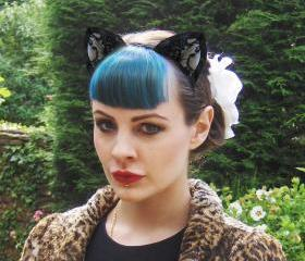 Black Lace Cat Ears Headband.
