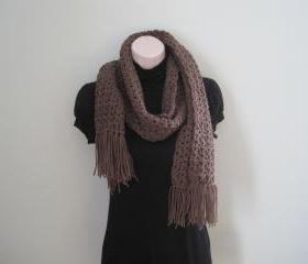 Crochet Scarf for men and women - Unisex - Taupe heather (SC7/SC7M)