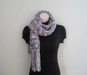 Knit Extra Long Scarf, Cowl, Neckwarmer - fresh lilac (SC8)