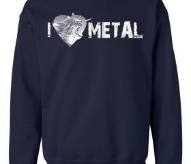 I Heart METAL Crew Neck Sweat Shirt Screaming Kitty I Love Metal
