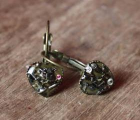 Lovely heart-shaped earrings from vintage watch parts